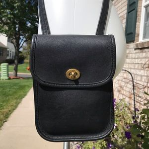 Vintage Coach Small Black Leather Crossbody Bag